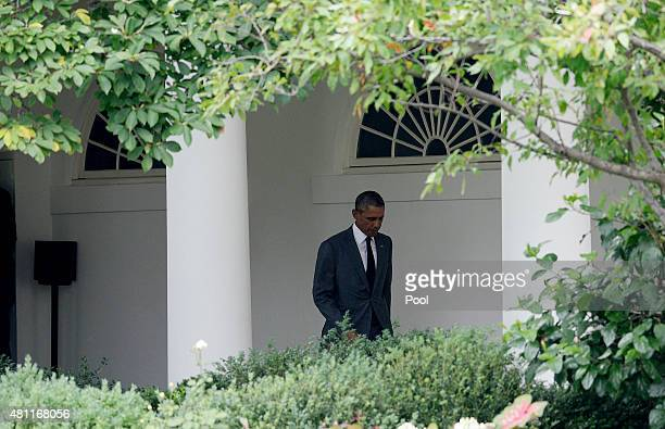 President Barack Obama walks the colonnade at the White House to board Marine One July 17 2015 in Washington DC