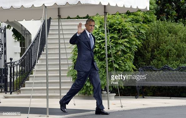US President Barack Obama walks to Marine One on the South Lawn of the White House June 16 2016 in Washington DC President Obama will travel to...