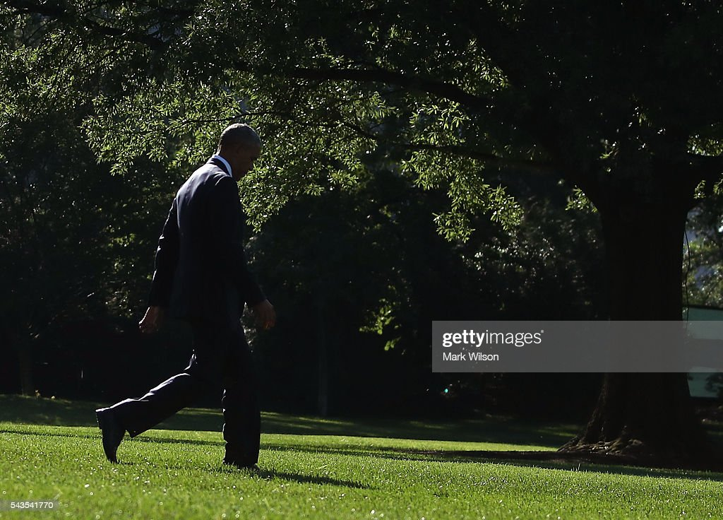 US President <a gi-track='captionPersonalityLinkClicked' href=/galleries/search?phrase=Barack+Obama&family=editorial&specificpeople=203260 ng-click='$event.stopPropagation()'>Barack Obama</a> walks toward Marine One while departing from the White House on June 29, 2016 in Washington, DC. President Obama is traveling to Canada to attend the North American Summit, where he will meet the leaders from Canada and Mexico, and address a joint session of the Canadian parliament.