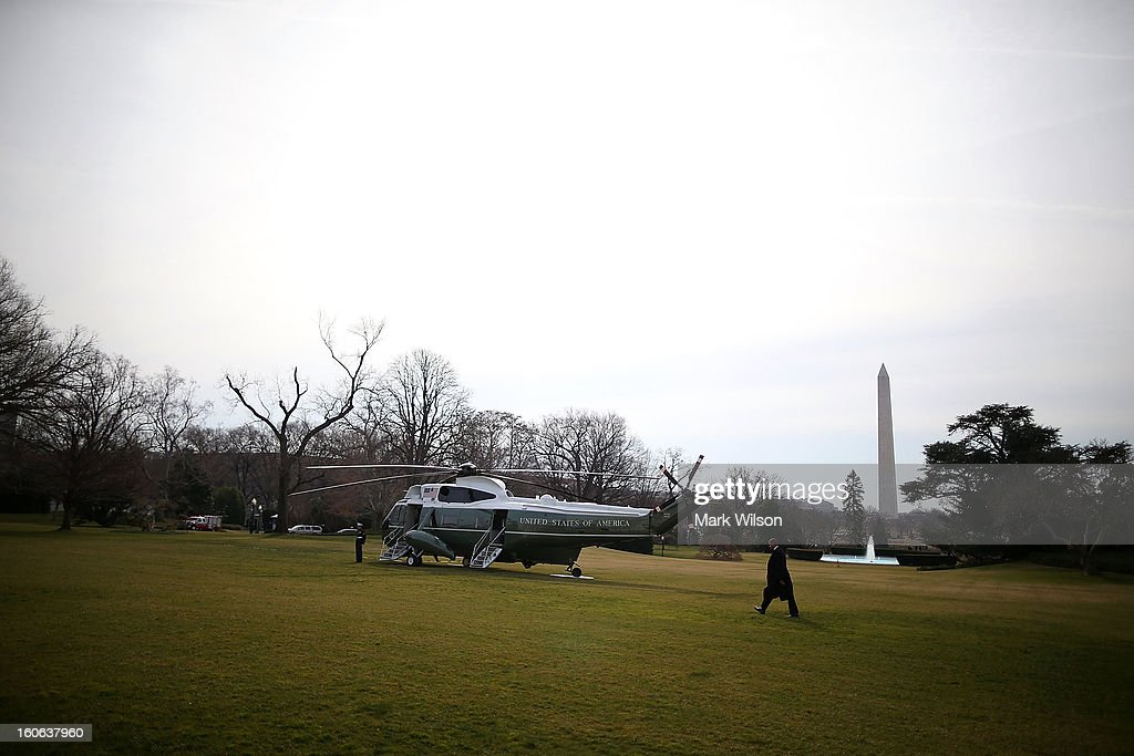 U.S. President Barack Obama walks toward Marine One while departing the White House, February 4, 2013 in Washington, DC. President Obama is traveling to Minnesota to rally support for his new gun control proposals.
