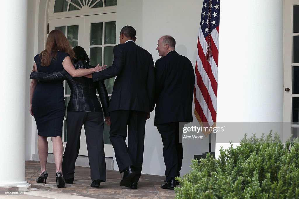 U.S. President <a gi-track='captionPersonalityLinkClicked' href=/galleries/search?phrase=Barack+Obama&family=editorial&specificpeople=203260 ng-click='$event.stopPropagation()'>Barack Obama</a> walks with former aide Samantha Power (L), U.S. Ambassador to the United Nations <a gi-track='captionPersonalityLinkClicked' href=/galleries/search?phrase=Susan+Rice&family=editorial&specificpeople=5458775 ng-click='$event.stopPropagation()'>Susan Rice</a> (2L) and incumbent National Security Adviser Tom Donilon (R) following a personnel announcement at the Rose Garden of the White House June 5, 2013 in Washington, DC. President Obama has nominated Rice to succeed Donilon to become the next National Security Adviser. Obama has also nominated Power to succeed Rice for her position to the UN.