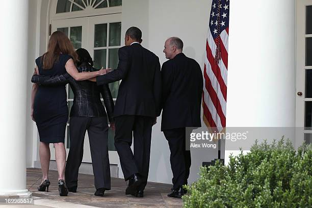 S President Barack Obama walks with former aide Samantha Power US Ambassador to the United Nations Susan Rice and incumbent National Security Adviser...