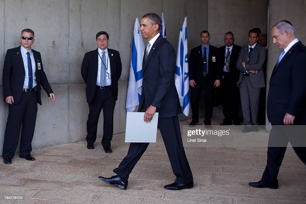 U.S. President Barack Obama walks with Israeli Prime Minister Benjamin Netanyahu during his visit to the Yad Vashem Holocaust Memorial museum on March 22, 2013 in Jerusalem, Israel. This is Obama's first visit as president to the region and his itinerary includes meetings with the Palestinian and Israeli leaders as well as a visit to the Church of the Nativity in Bethlehem.