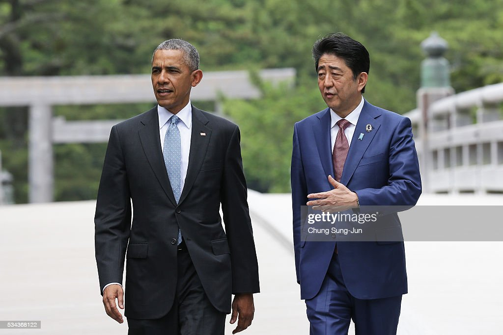 U.S. President Barack Obama walks with Japanese Prime Minister Shinzo Abe on the Ujibashi bridge as they visit at the Ise-Jingu Shrine on May 26, 2016 in Ise, Japan. In the two-day summit, the G7 leaders are scheduled to discuss the pressing global issues including counter-terrorism, energy policy, and sustainable development.