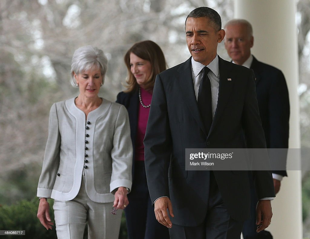 U.S. President <a gi-track='captionPersonalityLinkClicked' href=/galleries/search?phrase=Barack+Obama&family=editorial&specificpeople=203260 ng-click='$event.stopPropagation()'>Barack Obama</a> (2ndR) walks with outgoing Health and Human Services Secretary <a gi-track='captionPersonalityLinkClicked' href=/galleries/search?phrase=Kathleen+Sebelius&family=editorial&specificpeople=700528 ng-click='$event.stopPropagation()'>Kathleen Sebelius</a> (L), Director of the White House Office of Management and Budget <a gi-track='captionPersonalityLinkClicked' href=/galleries/search?phrase=Sylvia+Mathews+Burwell&family=editorial&specificpeople=7165922 ng-click='$event.stopPropagation()'>Sylvia Mathews Burwell</a> (2ndL), and U.S. Vice President Joe Biden during an event in the Rose Garden at the White House, on April 11, 2014 in Washington, DC. President Obama announced his nomination of Burwell to replace Sebelius as Secretary.