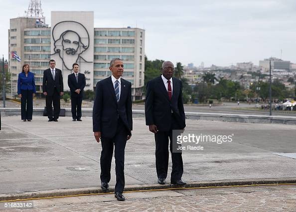 President Barack Obama walks with Salvador Valdez Mesa Vice President of the Council of Ministry as they take part in a wreath laying ceremony at the...