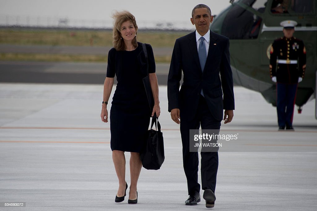 US President Barack Obama (R) walks with US Ambassador to Japan Caroline Kennedy (L) as he leaves following the end of the G7 Summit, at Chuba Centrair International Airport in Tokoname, near Nagoya, on May 27, 2016. Obama was to make history later on May 27 when he travels to Hiroshima -- becoming the first sitting US leader to visit the site that ushered in the age of nuclear conflict. / AFP / JIM
