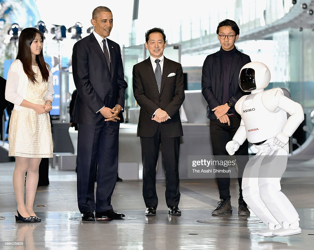 U.S. President <a gi-track='captionPersonalityLinkClicked' href=/galleries/search?phrase=Barack+Obama&family=editorial&specificpeople=203260 ng-click='$event.stopPropagation()'>Barack Obama</a> (2nd L) watches Honda Motor Co humanoid robot ASIMO (1st R) hops with the Miraikan (national museum for emerging science and innovation) chief executive dierector <a gi-track='captionPersonalityLinkClicked' href=/galleries/search?phrase=Mamoru+Mohri&family=editorial&specificpeople=213027 ng-click='$event.stopPropagation()'>Mamoru Mohri</a> (3rd R) on April 24, 2014 in Tokyo, Japan. The U.S. President is on an Asian tour where he is due to visit Japan, South Korea, Malaysia and Philippines.