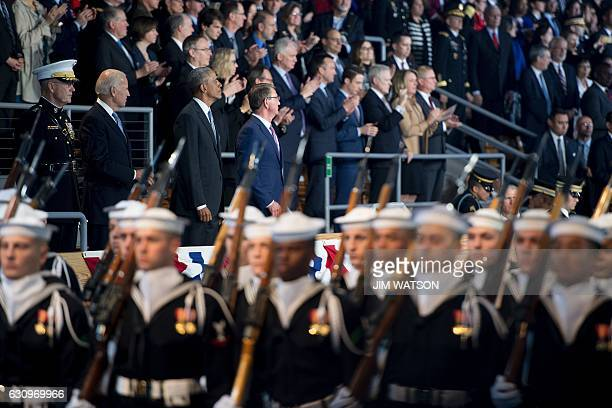 US President Barack Obama watches troop review with US Secretary of Defense Ashton Carter Vice President Joe Biden and Chairman of the Joint Chiefs...