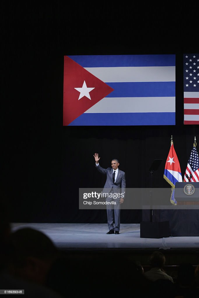 S President Barack Obama waves after delivering remarks at the Gran Teatro de la Habana Alicia Alonso in the hisoric Habana Vieja or Old Havana...