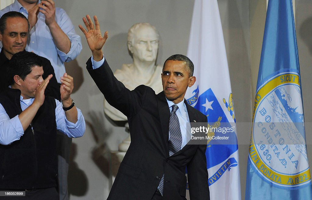 U.S. President <a gi-track='captionPersonalityLinkClicked' href=/galleries/search?phrase=Barack+Obama&family=editorial&specificpeople=203260 ng-click='$event.stopPropagation()'>Barack Obama</a> waves after speaking at Faneuil Hall on the implementation of the Affordable Care Act October 30, 2013 in Boston, Massachusetts. The rollout of the law has been marred by glitches in the web site as well as some people having their health insurance cancelled.