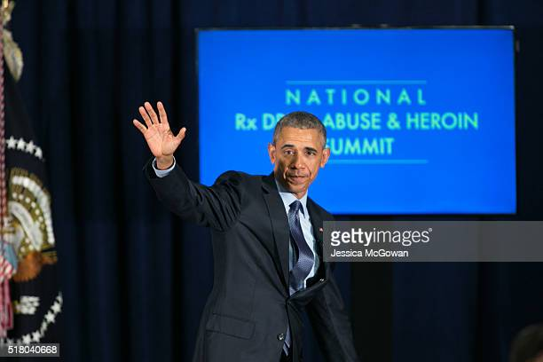President Barack Obama waves after speaking at the National Rx Drug Abuse and Heroin Summit on March 29 2016 in Atlanta Georgia A panel discussion...