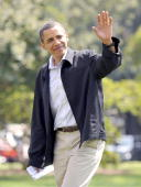 S President Barack Obama waves as he and his family return to the White House in Washington on Sunday Sept 6 2009 Obama returning from Camp David...