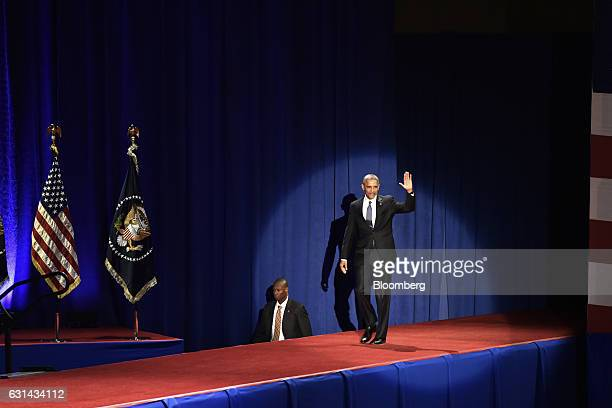 US President Barack Obama waves as he walks on stage to deliver his farewell address in Chicago Illinois US on Tuesday Jan 10 2017 Obama blasted...