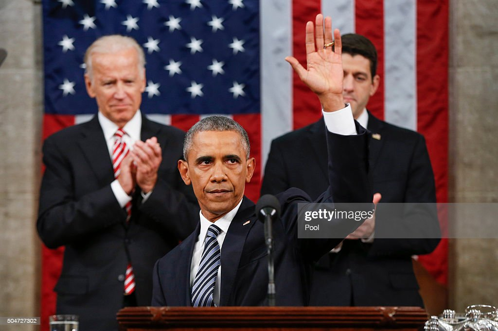 President Barack Obama waves at the conclusion of his State of the Union address to a joint session of Congress on Capitol Hill January 12, 2016 in Washington, D.C. In his final State of the Union, President Obama reflected on the past seven years in office and spoke on topics including climate change, gun control, immigration and income inequality.