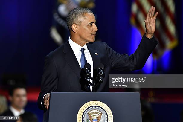 US President Barack Obama waves during his farewell address in Chicago Illinois US on Tuesday Jan 10 2017 Obama blasted 'zerosum' politics as he drew...