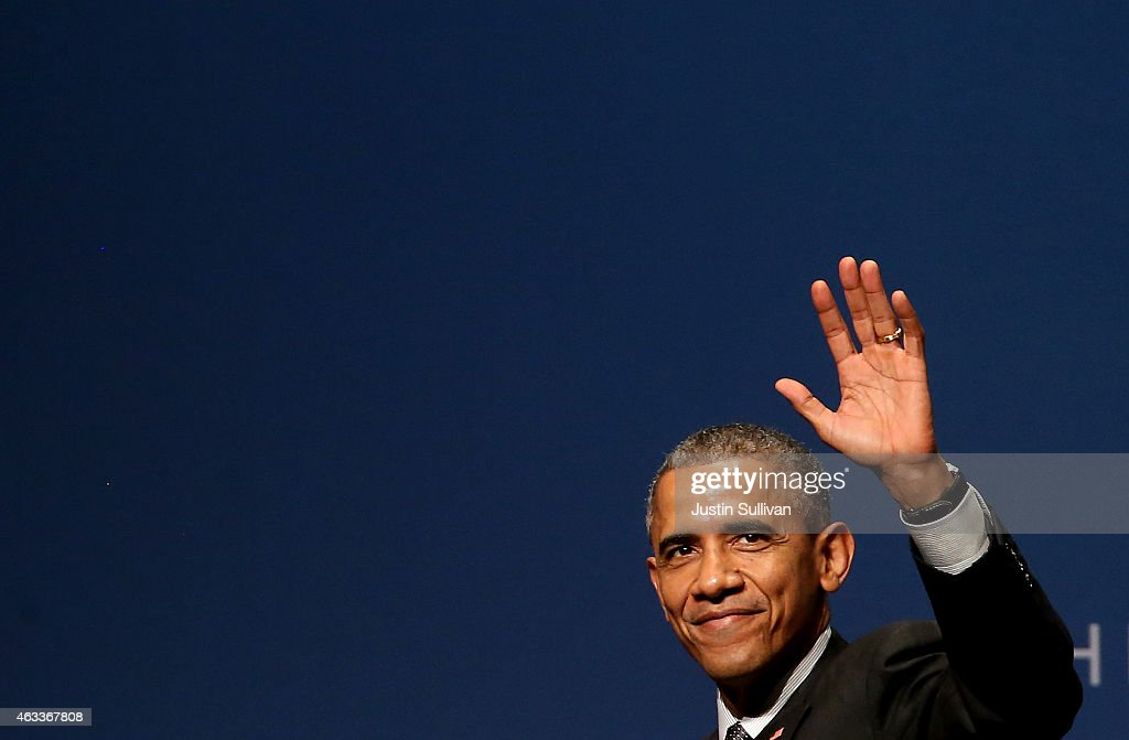 U.S. President Barack Obama waves during the White House Summit on Cybersecurity and Consumer Protection on February 13, 2015 in Stanford, California. President Obama joined corporate CEOs to speak about the imporatance of cybersecurity during the White House Summit on Cybersecurity and Consumer Protection.