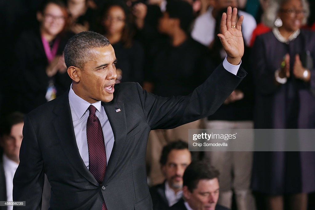 U.S. President <a gi-track='captionPersonalityLinkClicked' href=/galleries/search?phrase=Barack+Obama&family=editorial&specificpeople=203260 ng-click='$event.stopPropagation()'>Barack Obama</a> waves goodbye after delivering remarks about the ConnectED program at Buck Lodge Middle School February 4, 2014 in Adelphi, Maryland. As part of the president's ConnectED program, Obama has tasked the Federal Communications Commission to help to build high-speed digital connections to America's schools and libraries, with the goal of getting 99-percent of American students to next-generation broadband and wireless technology within five years.
