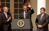 S President Barack Obama waves goodbye after making a statement demanding that Congress to pass extensions of transportation and avaition bills with...