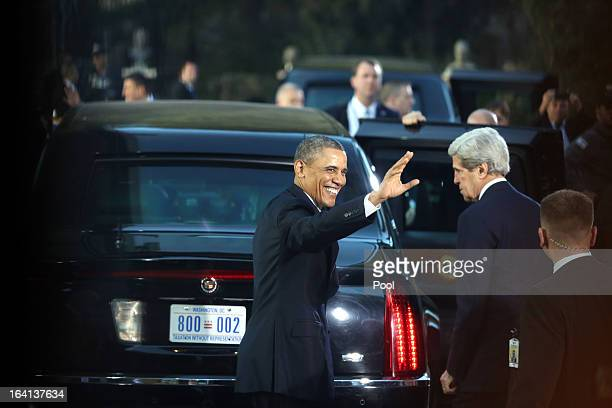 S President Barack Obama waves goodbye as he leaves after his meeting with Israeli President Shimon Peres during a welcome ceremony at the...