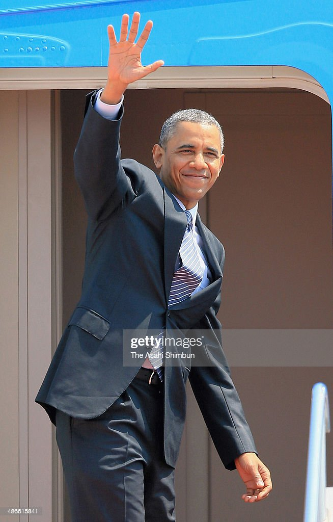 U.S. President <a gi-track='captionPersonalityLinkClicked' href=/galleries/search?phrase=Barack+Obama&family=editorial&specificpeople=203260 ng-click='$event.stopPropagation()'>Barack Obama</a> waves on departurte at Tokyo International Airport on April 25, 2014 in Tokyo, Japan. The U.S. President is on an Asian tour where he is due to visit Japan, South Korea, Malaysia and Philippines.