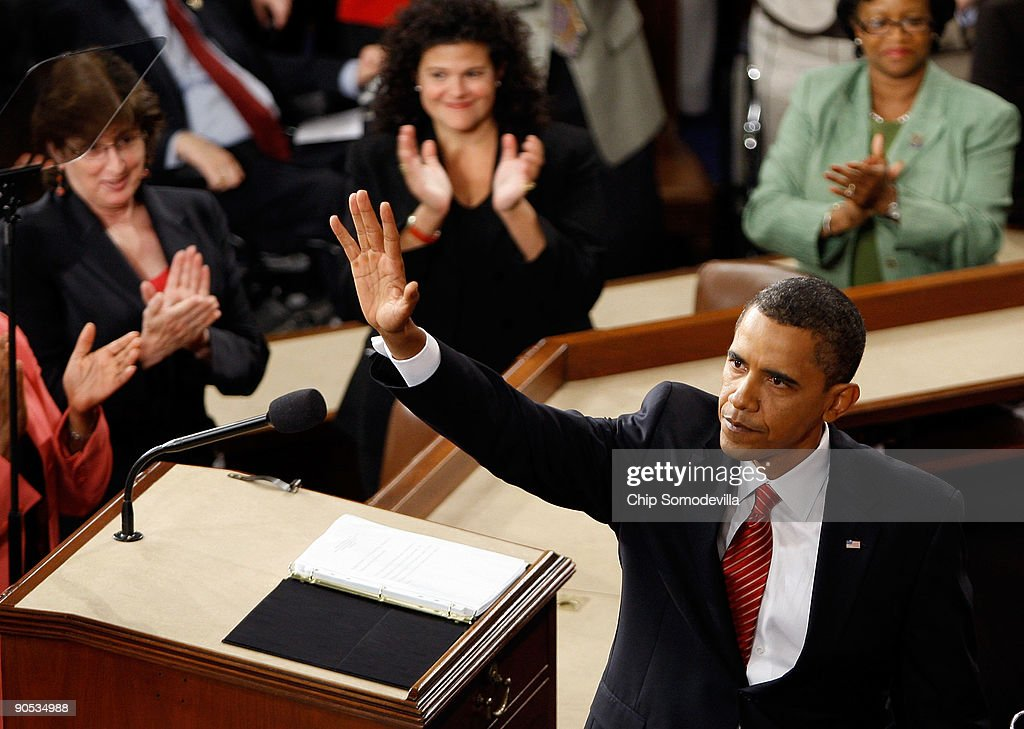 U.S. President <a gi-track='captionPersonalityLinkClicked' href=/galleries/search?phrase=Barack+Obama&family=editorial&specificpeople=203260 ng-click='$event.stopPropagation()'>Barack Obama</a> waves to supporters after addressing a joint session of the U.S. Congress at the U.S. Capitol September 9, 2009 in Washington, DC. Obama addressed the joint session to urge passage of his national health care plan, the centerpiece of his domestic agenda.