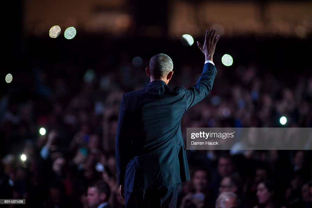 U.S. President Barack Obama waves to supporters after delivering his farewell speech at McCormick Place on January 10, 2017 in Chicago, Illinois. Obama addressed the nation in what is expected to be his last trip outside Washington as president. President-elect Donald Trump will be sworn in as the 45th president on January 20.