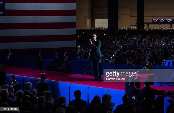 S President Barack Obama waves to supporters after delivering his farewell speech at McCormick Place on January 10 2017 in Chicago Illinois Obama...