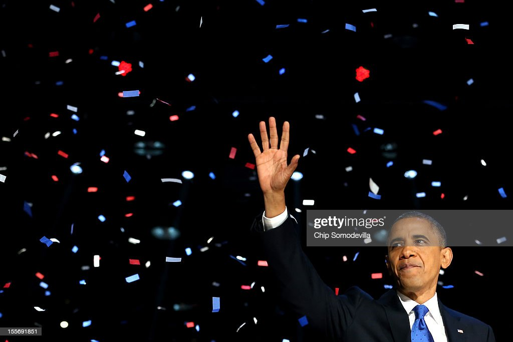 S President Barack Obama waves to supporters after his victory speech at McCormick Place on election night November 6 2012 in Chicago Illinois Obama...