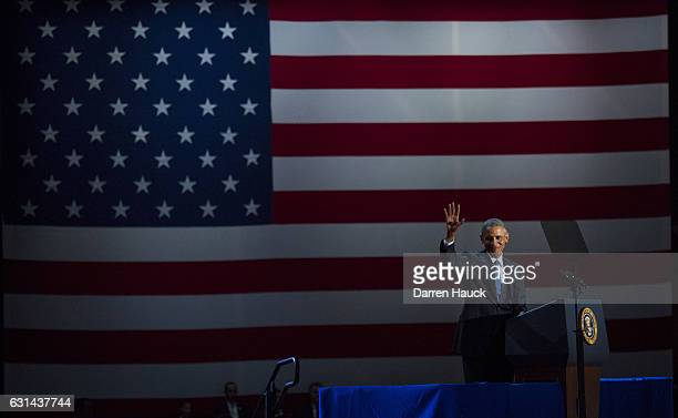 S President Barack Obama waves to supporters as he delivers his farewell speech at McCormick Place on January 10 2017 in Chicago Illinois Obama...