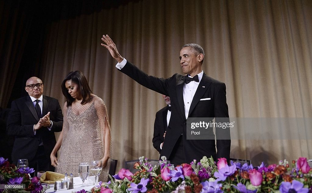 President Barack Obama waves to the audience after speaking at the White House Correspondents' Association annual dinner on April 30, 2016 at the Washington Hilton hotel in Washington, DC. This is President Obama's eighth and final White House Correspondents' Association dinner