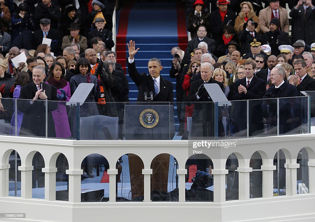 S President Barack Obama waves to the crowd after his speech at the ceremonial swearingin during the 57th Presidential Inauguration on the West Front...