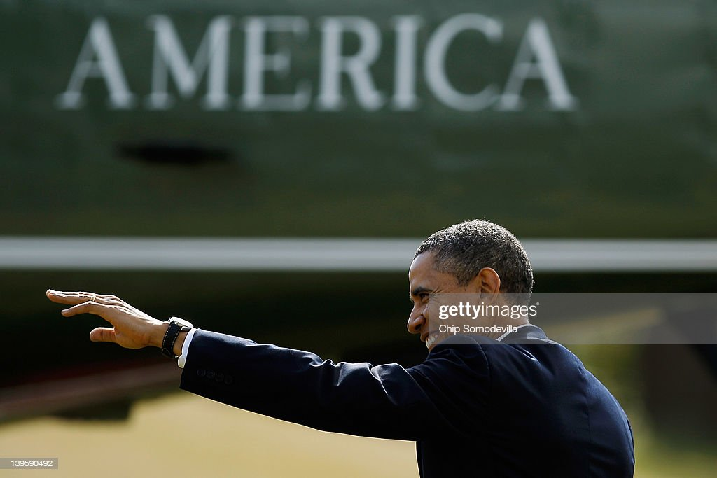 U.S. President Barack Obama waves to visitors as he crosses the South Lawn of the White House before boarding Marine One February 23, 2012 in Washington, DC. Obama is traveling to Miami, Florida, to talk about his administration's energy and economic policies and to attend campaign fundraisers.
