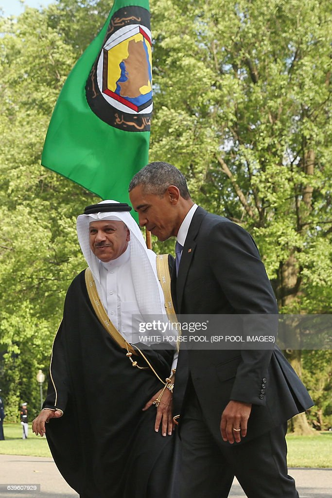 US President Barack Obama welcomes Abdul Latif bin Rashid Al Zayani Secretary General of the Gulf Cooperation Council to the White House May 13 2015...
