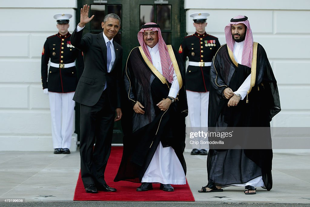 U.S. President <a gi-track='captionPersonalityLinkClicked' href=/galleries/search?phrase=Barack+Obama&family=editorial&specificpeople=203260 ng-click='$event.stopPropagation()'>Barack Obama</a> welcomes Crown Prince <a gi-track='captionPersonalityLinkClicked' href=/galleries/search?phrase=Mohammed+bin+Nayef&family=editorial&specificpeople=13866722 ng-click='$event.stopPropagation()'>Mohammed bin Nayef</a> (C) and Deputy Crown Prince Mohammed bin Salman of Saudi Arabia to the White House May 13, 2015 in Washington, DC. Obama is hosting a summit of the Persian Gulf countries in Washington and will move the talks to Camp David on Thursday.