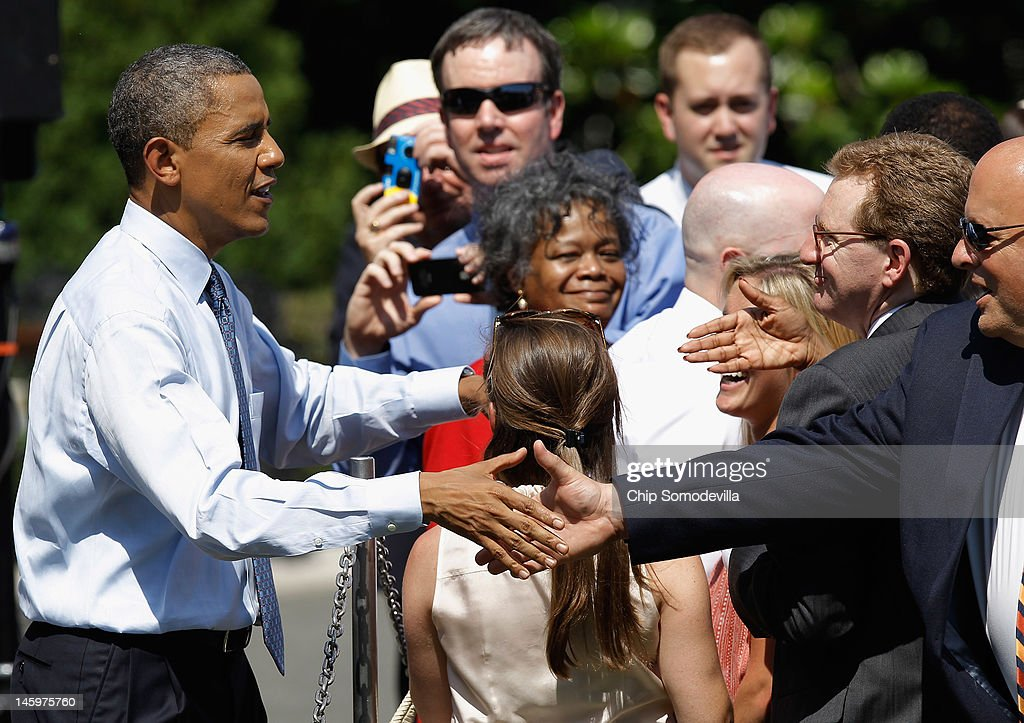 U.S. President <a gi-track='captionPersonalityLinkClicked' href=/galleries/search?phrase=Barack+Obama&family=editorial&specificpeople=203260 ng-click='$event.stopPropagation()'>Barack Obama</a> welcomes guests of the National Football League Super Bowl champions New York Giants to the White House June 8, 2012 in Washington, DC. The Giants defeated The New England Patriots 21-17 to win Super Bowl XXXXVI.