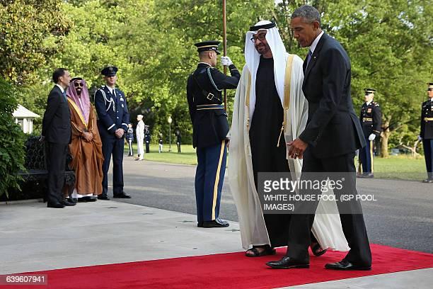US President Barack Obama welcomes Sheikh Mohamed bin Zayed Al Nahyan Crown Prince of Abu Dhabi to the White House May 13 2015 in Washington DC Obama...