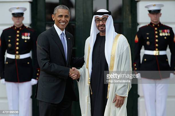 S President Barack Obama welcomes Sheikh Mohammed bin Zayed Al Nahyan Crown Prince of Abu Dhabi to the White House May 13 2015 in Washington DC Obama...