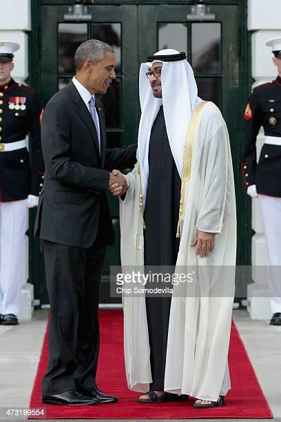 S President Barack Obama welcomes Sheikh Mohammed bin Zayed Al Nahyan Crown Prince of Abu Dhabi to the White House May 13 2015 in Washington DC Obama...