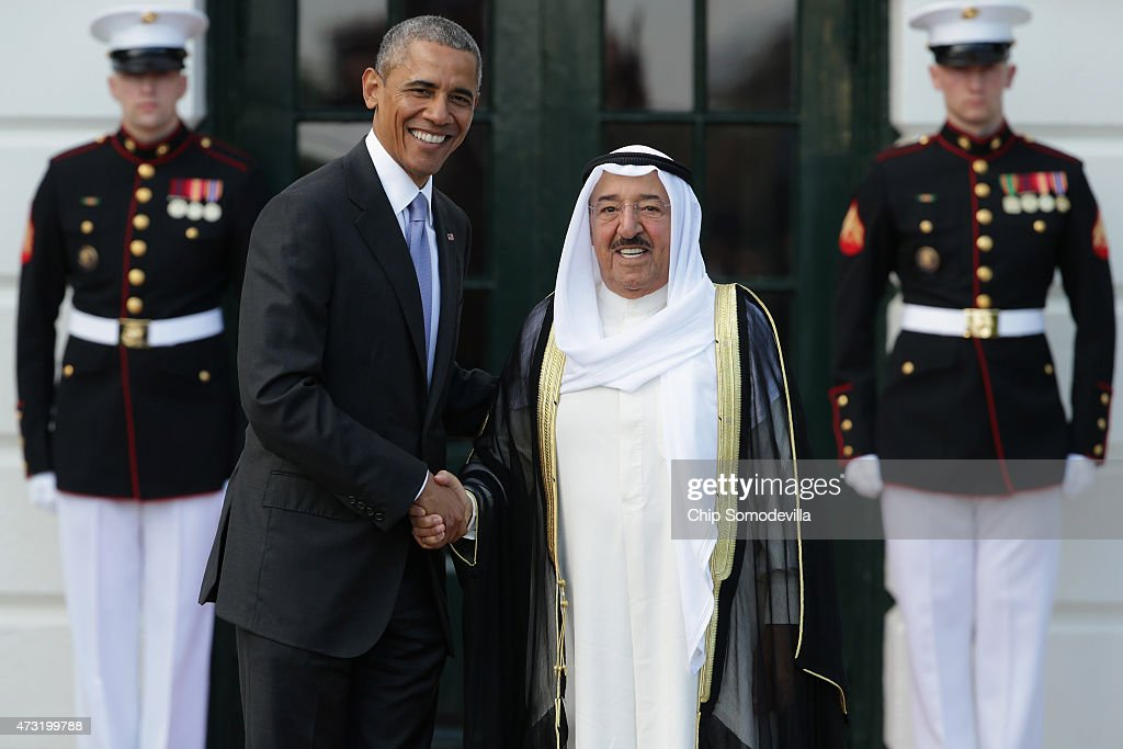 U.S. President <a gi-track='captionPersonalityLinkClicked' href=/galleries/search?phrase=Barack+Obama&family=editorial&specificpeople=203260 ng-click='$event.stopPropagation()'>Barack Obama</a> welcomes Sheikh <a gi-track='captionPersonalityLinkClicked' href=/galleries/search?phrase=Sabah+Al-Ahmad+Al-Jaber+Al-Sabah&family=editorial&specificpeople=5573991 ng-click='$event.stopPropagation()'>Sabah Al-Ahmad Al-Jaber Al-Sabah</a>, Amir of the State of Kuwait, to the White House May 13, 2015 in Washington, DC. Obama is hosting a summit of the Persian Gulf countries in Washington and will move the talks to Camp David on Thursday.