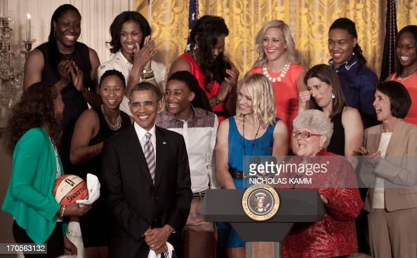 US President Barack Obama welcomes WNBA champions the Indiana Fever in the East Room of the White House in WashingtonDC on June 14 2013 AFP...