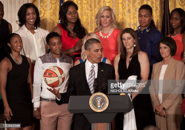 US President Barack Obama welcomes WNBA champions the Indiana Fever in the East Room of the White House in Washington on June 14 2013 AFP...