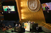 President Barack Obama who is in New York City for the 69th Session of the United Nations General Assembly delivers remarks at the Climate Summit at...