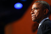 President Barack Obama who is in New York City for the 69th Session of the United Nations General Assembly speaks at the Clinton Global Initiative on...