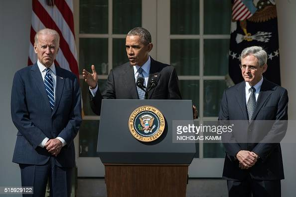 US President Barack Obama with Vice President Joe Biden announces his Supreme Court nominee Merrick Garland in the Rose Garden at the White House in...
