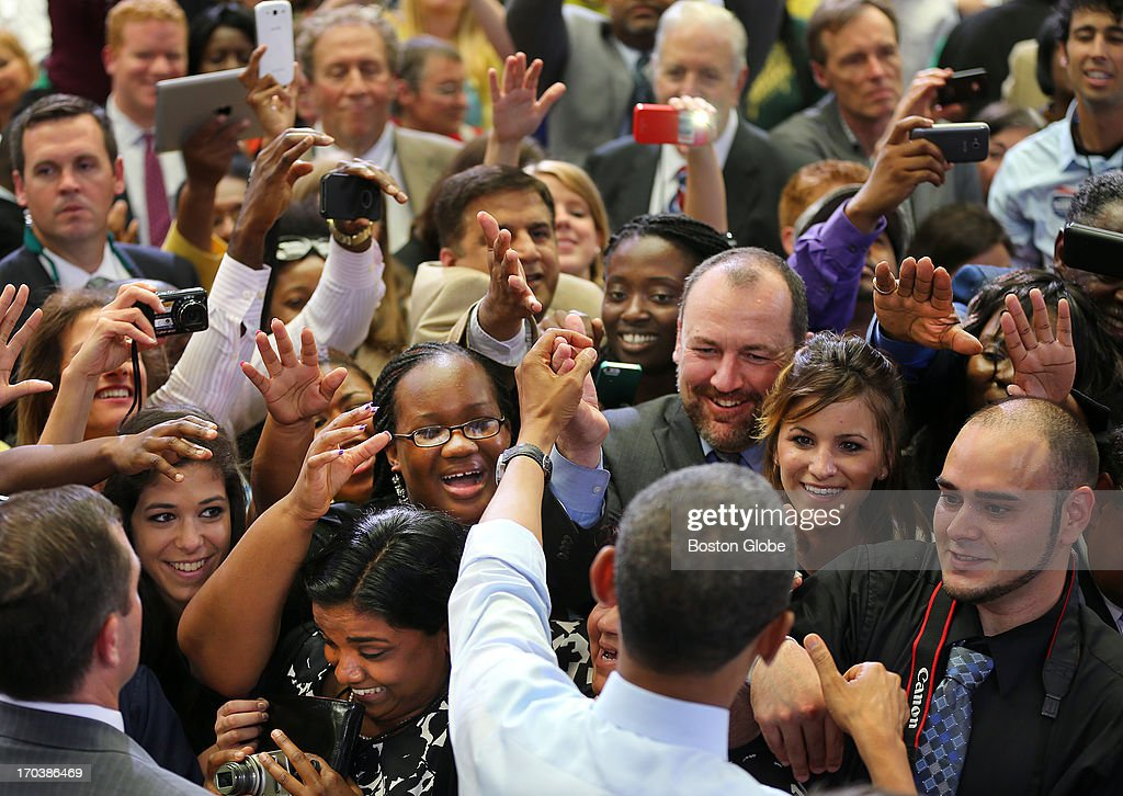 President Barack Obama works the crowd after speaking at a rally at the Reggie Lewis Track and Athletic Center. President Barack Obama visited Boston on behalf of Congressman Ed Markey, who is running for the open U.S. Senate seat vacated by Secretary of State John Kerry.