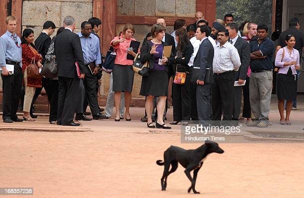 S President Barack Obama's advance team review Humayun's tomb monument on October 29 2010 in New Delhi India