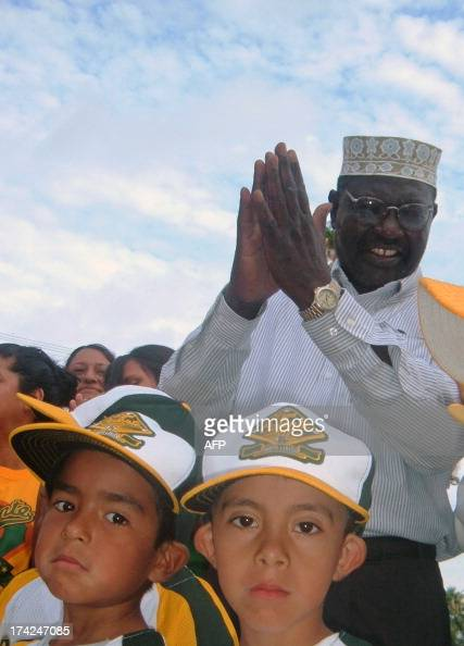 US President Barack Obama's halfbrother Malik Obama takes part in an activity with Mexican children in a school in Nuevo Laredo Tamaulipas State on...