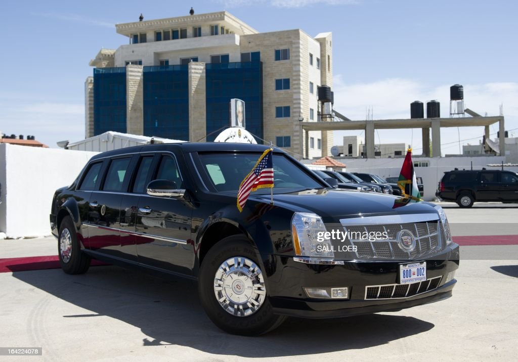 US President Barack Obama's limousine, known as 'The Beast,' parks following an official arrival ceremony at the Muqata, the Palestinian Authority headquarters in the West Bank city of Ramallah, on March 21, 2013. Obama arrived in the West Bank city of Ramallah on his first visit since taking over the White House more than four years ago . AFP PHOTO / Saul LOEB
