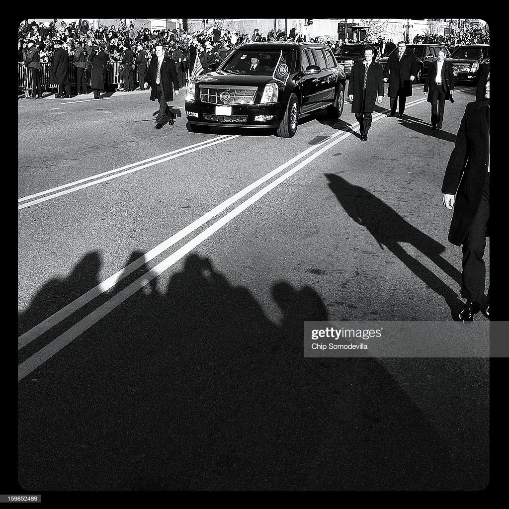 U.S. President Barack Obama's limousine, nicknamed The Beast, during the inaugural Parade route down Pennsylvania Avenue January 21, 2013 in Washington, DC. President Obama took the oath of office earlier in the day during a ceremony on the west front of the U.S. Capitol.